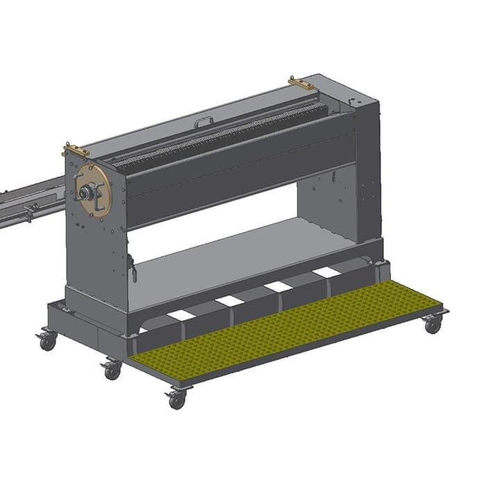 snack stick cutter operator loading platform